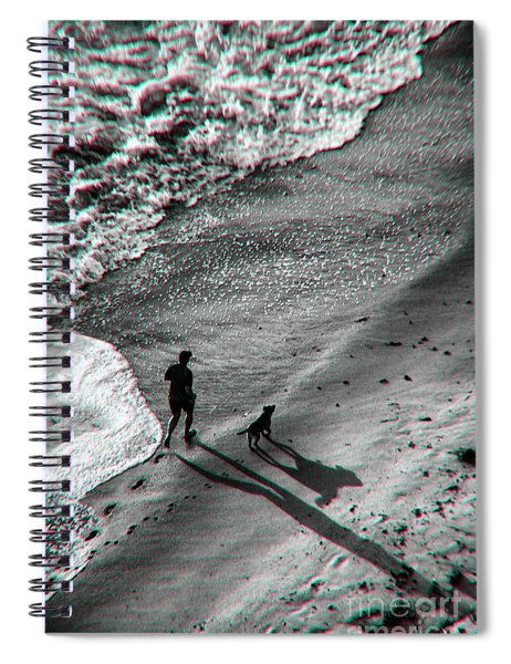 Man And Dog On The Beach Spiral Notebook