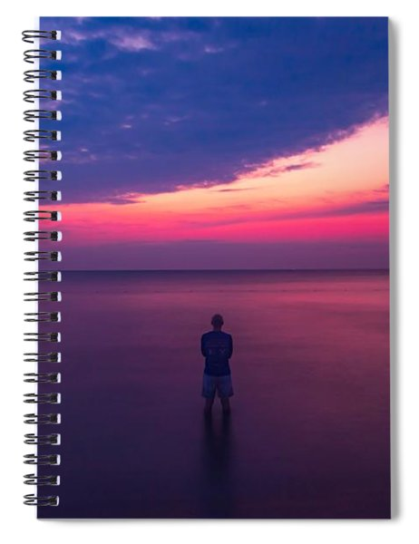 Man In A Lake At Predawn Spiral Notebook