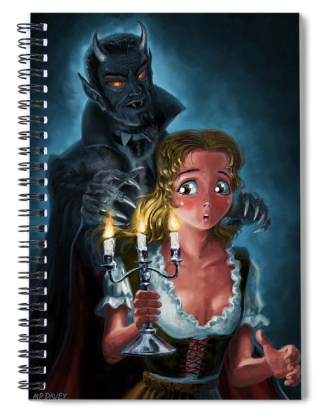 Spiral Notebook featuring the digital art Manga Vampire And Woman Horror by Martin Davey
