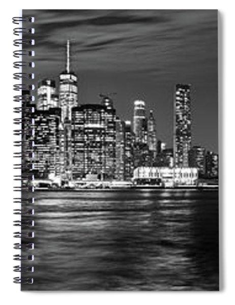 Manhattan Skyline At Dusk From Broklyn Bridge Park In Black And  Spiral Notebook