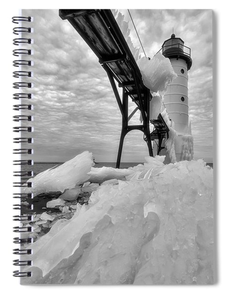 Spiral Notebook featuring the photograph Manistee Pierhead Light 3 by Heather Kenward