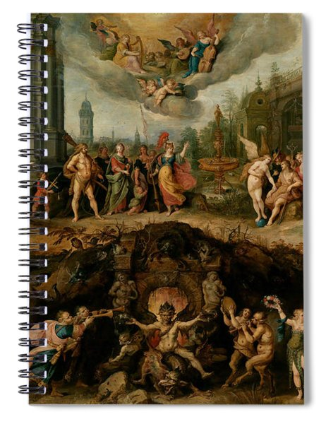 Mankind's Eternal Dilemma, The Choice Between Virtue And Vice Spiral Notebook