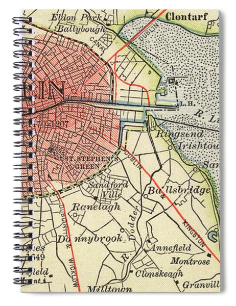 Map Of Dublin Spiral Notebook