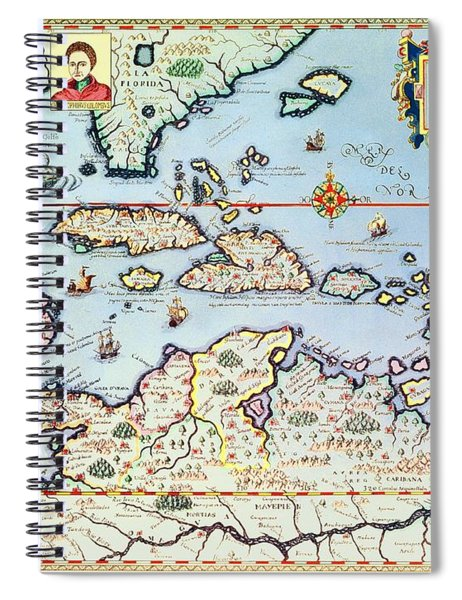 Map Of The Caribbean Islands And The American State Of Florida  Spiral Notebook