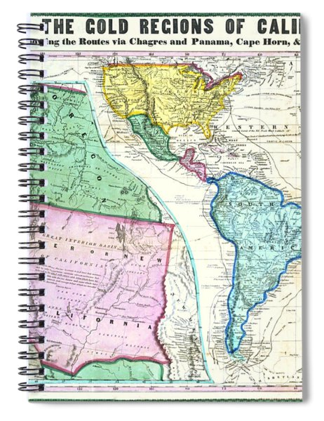 Map Of The Gold Regions Of California Spiral Notebook