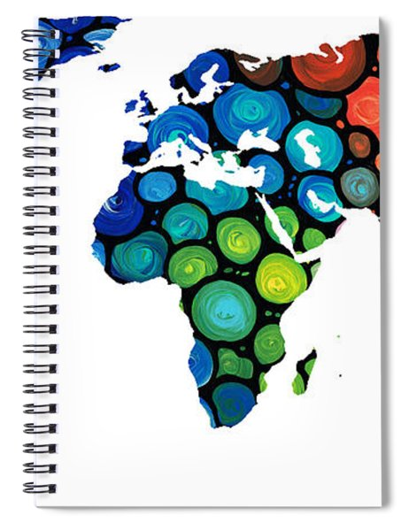 Map Of The World 1 -colorful Abstract Art Spiral Notebook