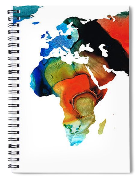 Map Of The World 3 -colorful Abstract Art Spiral Notebook