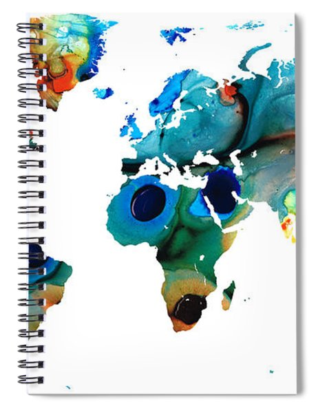 Map Of The World 6 -colorful Abstract Art Spiral Notebook