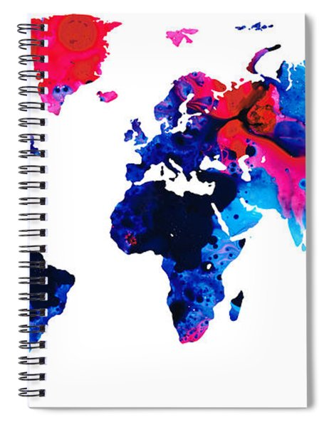 Map Of The World 9 -colorful Abstract Art Spiral Notebook