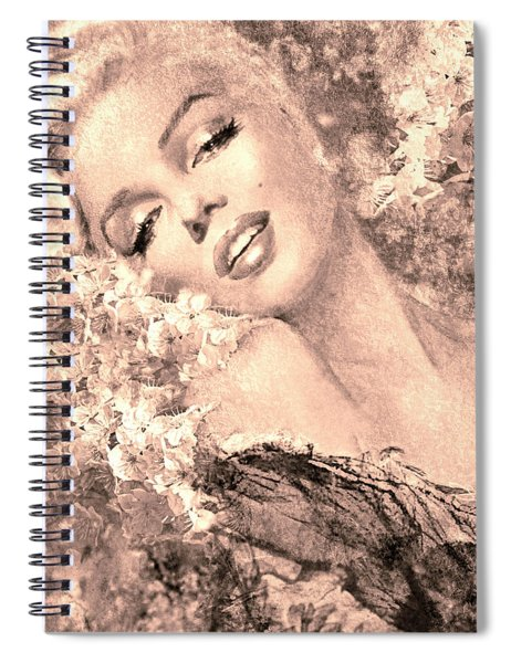 Marilyn Cherry Blossom, B Sepia Spiral Notebook