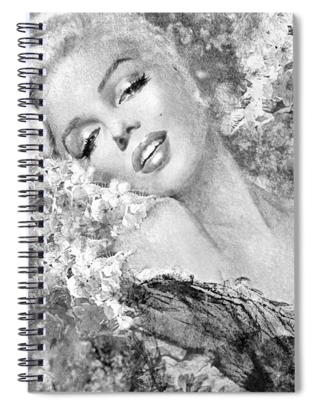 Marilyn Cherry Blossom Bw Spiral Notebook