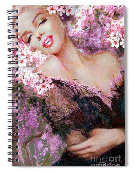 Marilyn Cherry Blossoms Pink Spiral Notebook