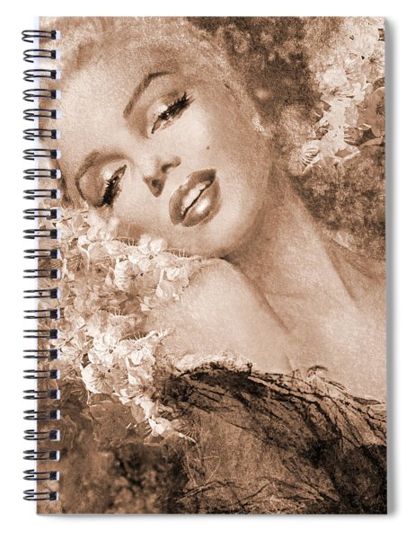 Marilyn Cherry Blossoms, Sepia Spiral Notebook