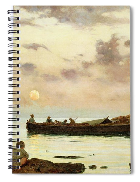 Marina With A Fishing Boat And Boys Spiral Notebook