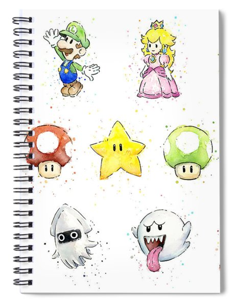 Mario Characters In Watercolor Spiral Notebook