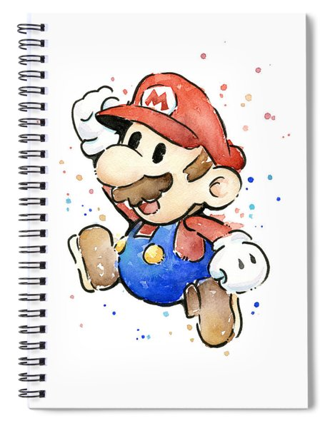 Mario Watercolor Fan Art Spiral Notebook