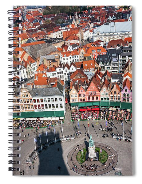Spiral Notebook featuring the photograph Markt Square Bruges From Above - Bruges by Barry O Carroll