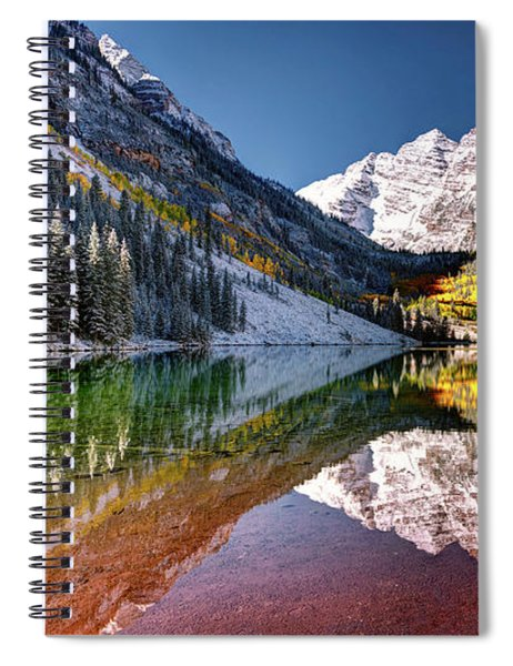 Olena Art Sunrise At Maroon Bells Lake Autumn Aspen Trees In The Rocky Mountains Near Aspen Colorado Spiral Notebook