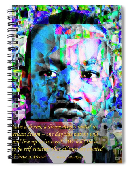 Martin Luther King Jr In Abstract Cubism 20170401 Text Spiral Notebook
