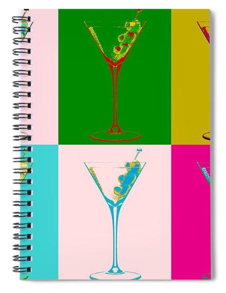 Martini Pop Art Panels Spiral Notebook