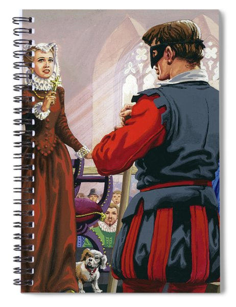 Mary Queen Of Scots About To Be Beheaded At Fotheringay Castle Spiral Notebook