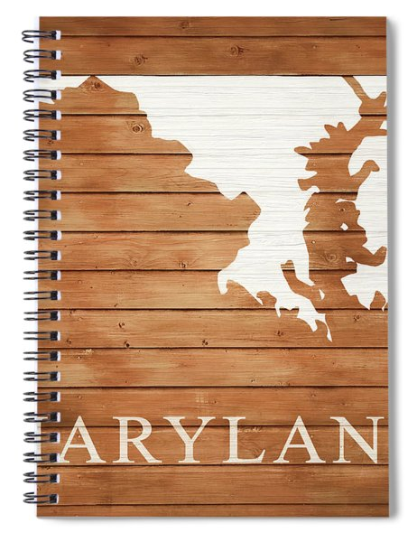 Maryland Rustic Map On Wood Spiral Notebook