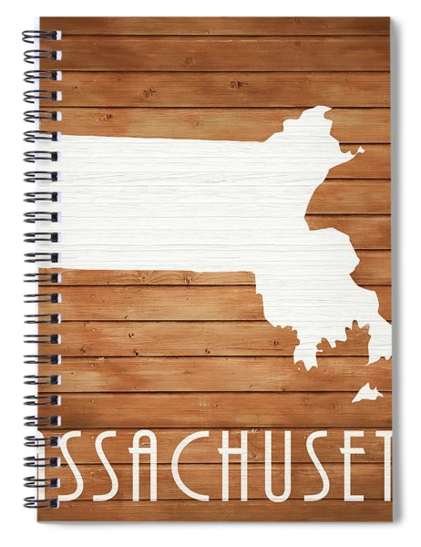 Massachusetts Rustic Map On Wood Spiral Notebook