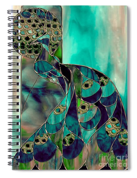 Mating Season Stained Glass Peacock Spiral Notebook