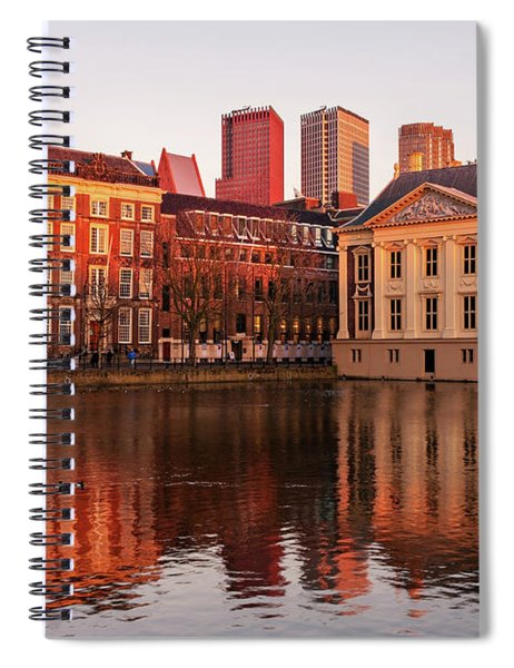 Spiral Notebook featuring the photograph Mauritshuis And Hofvijver At Golden Hour - The Hague by Barry O Carroll