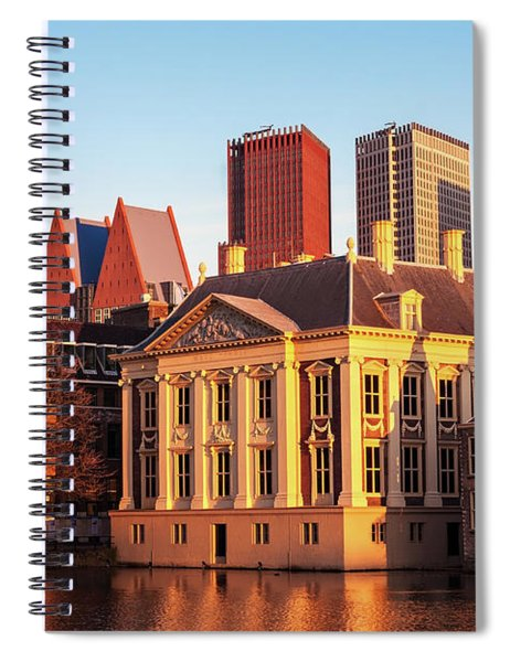 Spiral Notebook featuring the photograph Mauritshuis At Golden Hour - The Hague by Barry O Carroll