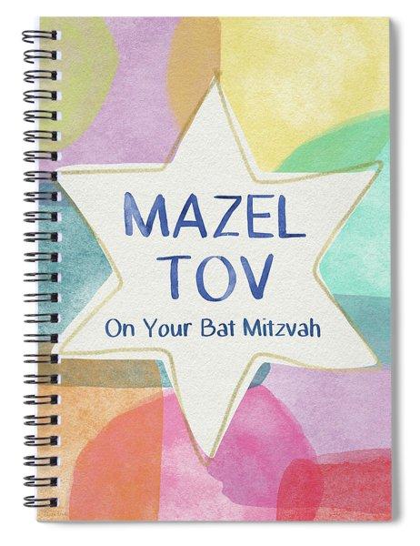 Mazel Tov On Your Bat Mitzvah- Art By Linda Woods Spiral Notebook