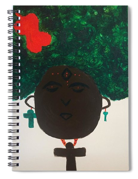 Spiral Notebook featuring the painting Meditation Queen  by Samimah Houston