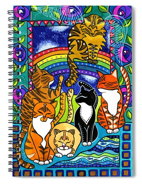 Meet Me At The Rainbow Bridge - Cat Painting Spiral Notebook