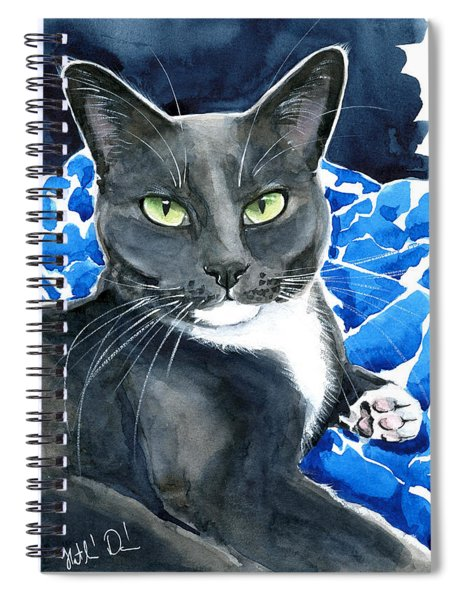 Melo - Blue Tuxedo Cat Painting Spiral Notebook