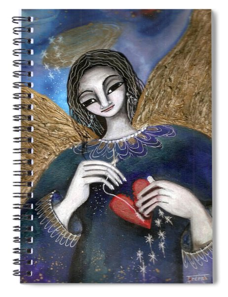Mender Of Hearts Angel Spiral Notebook by Prerna Poojara