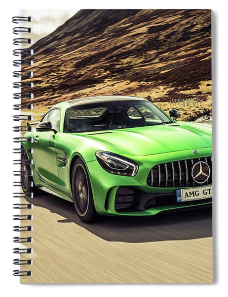 Spiral Notebook featuring the photograph Mercedes A M G  G T  R by Movie Poster Prints