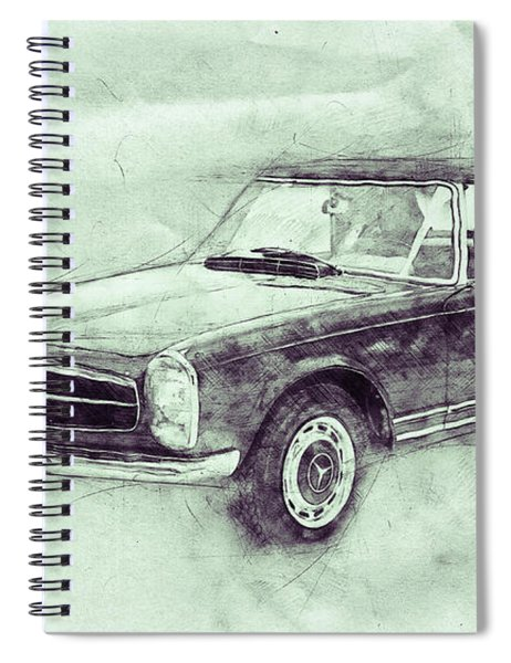 Mercedes-benz 280sl Roadster 3 - 1967 - Automotive Art - Car Posters Spiral Notebook