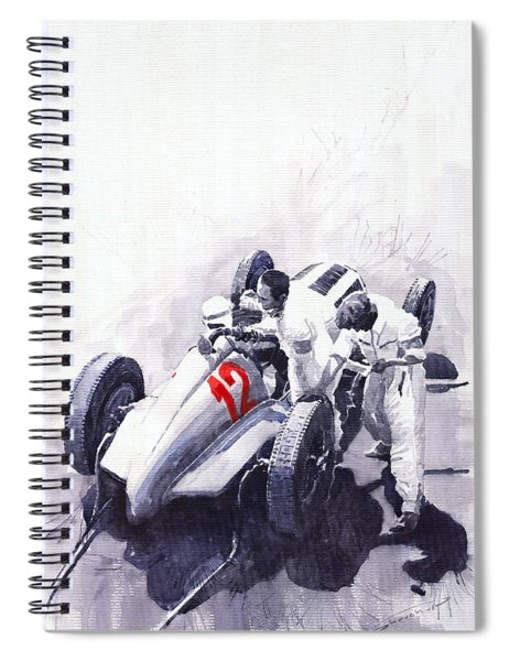 Mercedes Benz W125 Rudolf Caracciola The German Grand Prix Nurburgring 1937  Spiral Notebook
