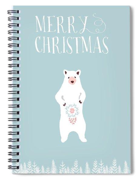 White Christmas Bear Spiral Notebook