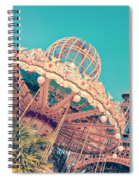 Merry Go Paris Spiral Notebook by Delphimages Photo Creations