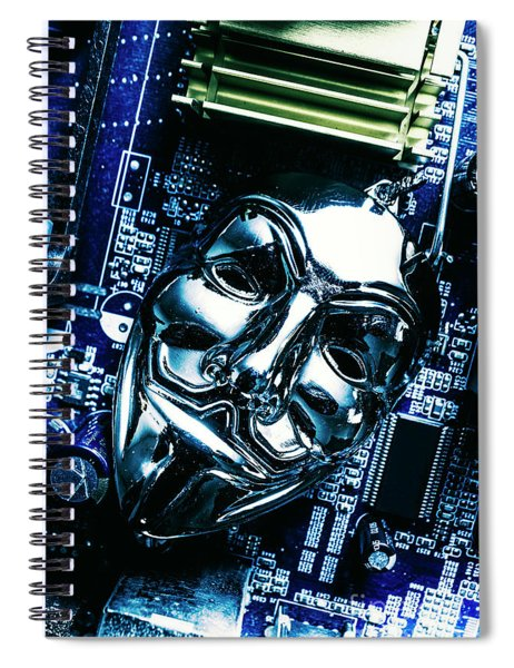 Metal Anonymous Mask On Motherboard Spiral Notebook