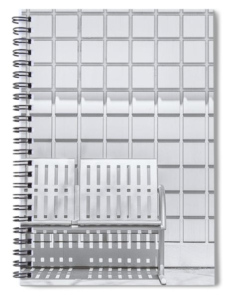Metal Bench Against Concrete Squares Spiral Notebook