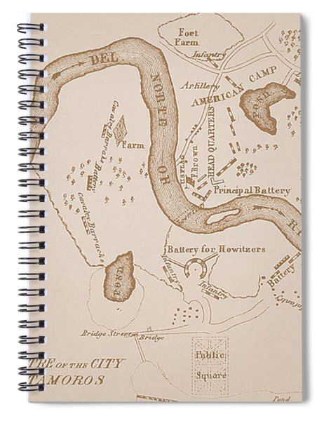 Mexican-american War Map Of Us Troops Near Rio Grande And Matamoros, 1849  Spiral Notebook