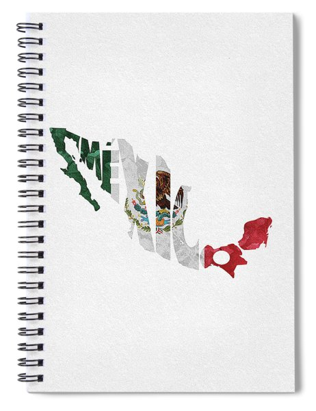 Mexico Typographic Map Flag Spiral Notebook