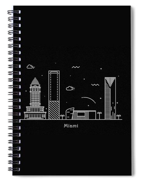 Miami Skyline Travel Poster Spiral Notebook