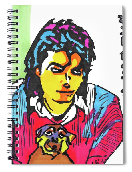Michael Jackson Pop Art Painting With A Dog Spiral Notebook