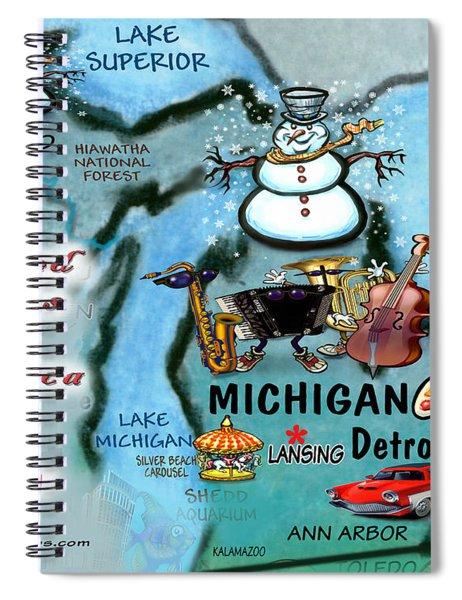 Michigan Fun Map Spiral Notebook