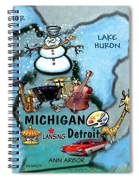 Michigan Fun Map Spiral Notebook