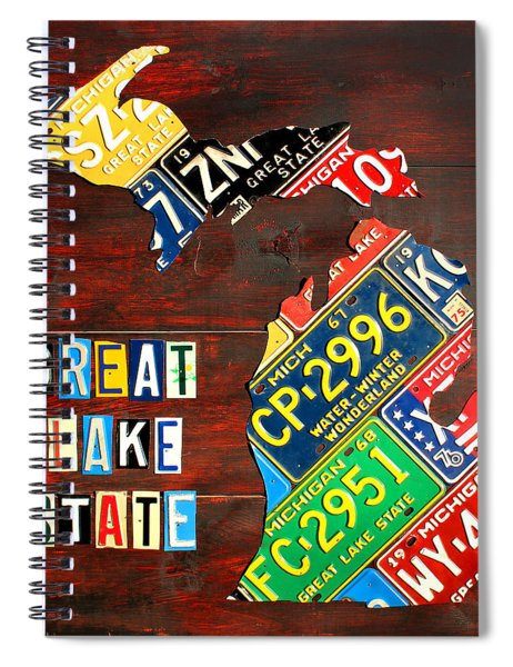 Michigan License Plate Map Spiral Notebook by Design Turnpike