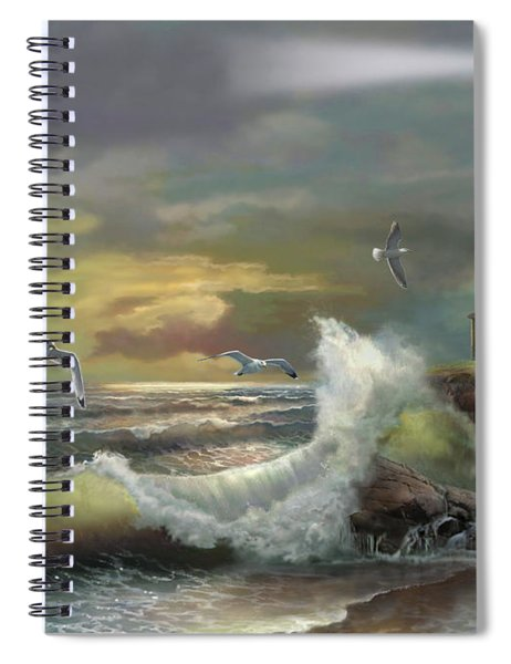 Michigan Seul Choix Point Lighthouse With An Angry Sea Spiral Notebook